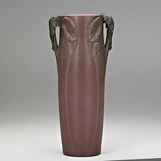 VAN BRIGGLE Important vase with bronzed handles estimated to sell for $15,000 - $20,000