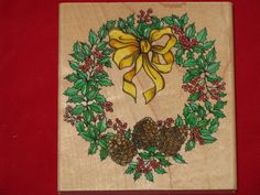 stamped christmas card wreaths | Winter Wreath Christmas Rubber Stamp Rubber Stampede New condtion 1990 ...