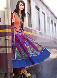 Orange N Purple Lawn Cotton Anarkali Suit