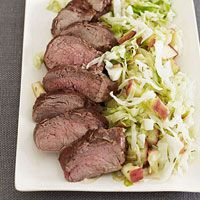 Pork Tenderloin with Warm Apple Slaw http://www.familycircle.com/recipe/pork/pork-tenderloin-with-warm-apple-slaw/