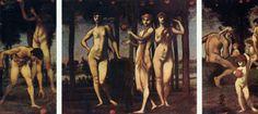 Hans von Marées.  Hesperiden, Triptychon.1884, Holz, 341 × 482cm.München, Neue Pinakothek.Deutschland.Realismus.  KO 00561