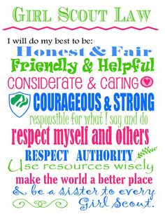 Create a framed copy of the Girl Scout law for a bridging gift or end of the year gift for girls