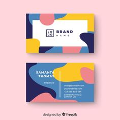 Business card template with abstract shapes Free Vector Art Business Cards, Beauty Business Cards, Business Card Design, Corporate Design, Graphic Design Posters, Graphic Design Inspiration, Bad Trip, Cover Design, Identity Design
