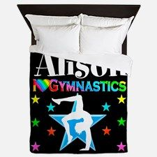 Blue Gymnast Star Queen Duvet Your Gymnast will be thrilled to decorate her room with our awesome personalized Gymnastics bed covers and pillow cases.   http://www.cafepress.com/sportsstar/10114301 #Gymnastics #Gymnast #WomensGymnastics #Lovegymnastics #Personalizedgymnast