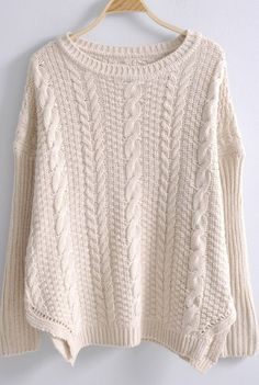 Beige Batwing Long Sleeve Side Split Loose Sweater
