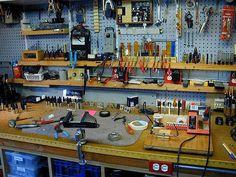 awesome workbench idea for DIY garage, tool organization :: work space ...