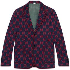 Gucci Gg Jersey Formal Jacket ($2,400) ❤ liked on Polyvore featuring men's fashion, men's clothing, men's outerwear, men's jackets, mens leopard print jacket, mens formal jackets and gucci mens jacket