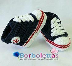 Patucos para Bebé Recién Nacido tipo Converse, 0-3 meses Azul Marino. Handmade. Crochet. España: Amazon.es: Handmade