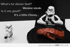 """Wookie steak - Funny LEGO Star Wars joke with Stormtrooper kid asking his dad: """"What's for dinner dad? - Wookie steak. - Is it any good? - It's a little Chewy..."""" Star Wars"""