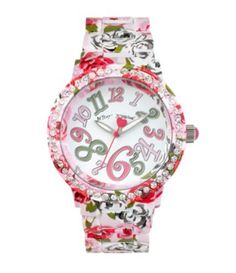 Betsey Johnson Multi-Colored Floral Case Bracelet Watch