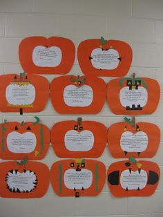 """Fall Is...(word choice!) poems. 2 day lessons. """"frame"""" is construction paper pumpkin with the typed poem behind it."""