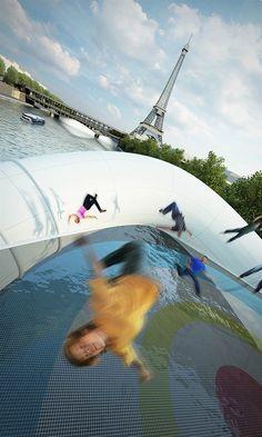 """En réponse à l'intitulé du concours de design """"Un pont à Paris"""", le studio AZC a imaginé ce pont flottant composé d'une structure gonflable en PVC et de t"""
