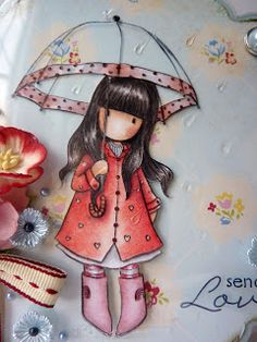 Jane's Lovely Cards: Gorjuss Again!  Acetate umbrella and Girls Paperie pp from May 2011