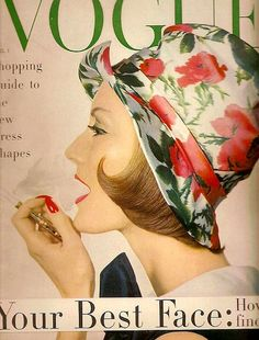 Mary Jane Russell in silk cloche by Adolfo, gold bamboo cigarette holder by Tiffany, photo by Irving Penn, April 1958