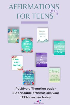 Help your teen stay motivated and develop the tools to help their own mental health. This lovely printable pack of affirmation cards provide a daily boost of positivity that your teen can use to improve how they think and feel. #dailyaffirmations #mentalhealth #emotionalhealth Positive Affirmations, Affirmations For Kids, Positive Phrases, Printable Planner, Printables, Affirmation Cards, Positivity, Negative Self Talk, Parenting Teens
