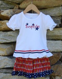 Stars & stripes forever! Fourth of July outfits are featured in today's flash sale. Shop now at facebook.com/jdoriginals. Outfits are made in America and price includes shipping!