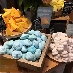 This delicious-looking Lush Table-Top Visual Merchandising represents the wares of Lush Cosmetics, Short Hills Mall, Chatham NJ. Short Hills Mall, Retail Fixtures, Organic Fruits And Vegetables, Lush Cosmetics, Good Enough To Eat, Visual Merchandising, Apothecary, Windows, Top