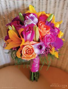 Bright destination wedding bouquet. Designed by bride, supplied by Innovart.