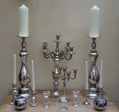 Mercury, cystal and silver candle holders from £3