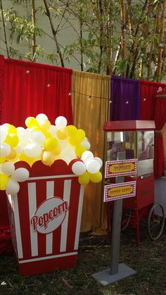 034 Popcorn Box Prop with Balloons- Event Planning: Jackie Ohh Events