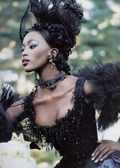 "hoop-skirts-and-corsets: bakelite-clatter: stopdropandvogue: Naomi Campbell wearing Christian Lacroix Haute Couture in ""A Feast For the Eyes"" for Vogue December 1996 photographed by Steven Meisel (via bigbo) Steven Meisel, Mario Sorrenti, Paolo Roversi, Christian Lacroix, Ellen Von Unwerth, Top Models, Female Models, Black Is Beautiful, Beautiful People"