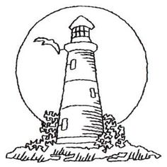 Lighthouse Sunset - Outline x John Deer's Ultimate Stash Vintage Embroidery, Embroidery Patterns, Hand Embroidery, Quilt Patterns, Machine Embroidery, Painting Patterns, Wood Burning Patterns, Wood Burning Art, Coloring Book Pages