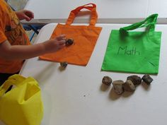 Math bags for children to bring in donated manipulatives for counting/graphing