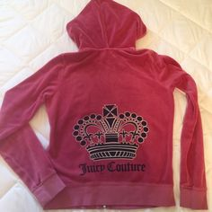 Juicy Couture Original Velour Zip-Up Jacket Adorable Juicy Couture Original Velour Jacket - Made in America - Pink zip-up hoodie - Velour cloth material - Size Large - in gently worn, but very good condition without snags or flaws.  Juicy Couture Tops Sweatshirts & Hoodies