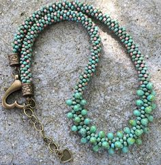 Sea Foam & Rose Copper Kumihimo Beaded by GoldenValleyCraft