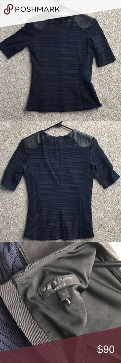 Rand and bone peplum top Rag and bone peplum top, with leather shoulders. Fully lined, except sleeves. Navy and black. $450 new. Sold on Revolve clothing shopbop and intermix. Small. rag & bone Tops