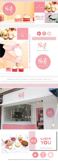 Sift Cupcake + Dessert Bar Branding:  other words to use: pretty please beaucoup cherry on top blossom etc.