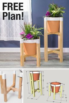 """How to Build a DIY Planter Stand   Free printable plans with how-to steps, tools and materials list, cutting list and diagram.   Put your favorite plants on a pedestal by building an attractive stand. Both the low and high versions hold a 12.5""""-diameter pot. You'll find pots around this same size in any garden supply store or home center. With just a few simple cuts and pocket-hole joints, construction is quick and simple."""
