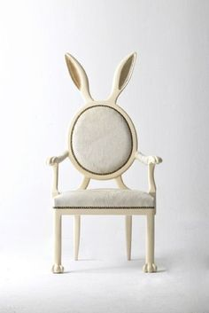 very Alice in Wonderland. Love. Rabbit ear chair.