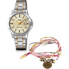 3d3425a7a98 Relógio Feminino LTP-V004SG-9AUDF Casio Prata + Pulseira do Bem OrientaVida  Amor -