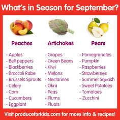 What's in Season for September? Check out this list for what fresh produce is in season, plus healthy seasonal recipes from @produceforkids.
