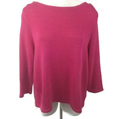 Lauren Ralph Lauren Size 3X Pink Cotton Knit Sweater 3/4 Sleeves Open Neckline #LaurenRalphLauren #OpenNeckline #Work