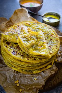 Puran Poli is a Maharashtrian sweet flat bread stuffed with Chana dal, jaggery, sesame and poppy seeds mixture. Delicious to eat on it's own or dipped in a spicy Katachi Amti, it is a delight to savour. Jaggery Recipes, Chapati Recipes, Puran Poli Recipes, Indian Dessert Recipes, Indian Sweets, Indian Recipes, Diwali Food, Indian Dishes, Indian Breads