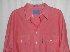 PENDLETON Cotton Men Sz L Large Red Button Up Shirt Adjust Long Sleeve 2 pocket  #Pendleton #ButtonFront