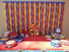 Paw Patrol Party:: streamers for decorations -- red, blue, yellow