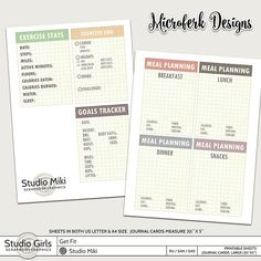 Get Fit Printable Sheets Journal Cards -Large