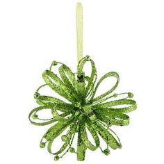 Lime Green Glitter Round Ornament with Loops