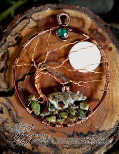 Tree of Life - Bear with Unakite and Moon by ImaginativeArtbyJo on Etsy