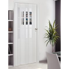 Homestyle Metro White mit Türkis-Frosted-Falttür - Diy and Crafts YazYaz. Accordian Door, Accordion Folding Doors, Folding Partition, Style At Home, Demountable Partitions, Metro White, Wood Barn Door, Interior Design Elements, White Doors