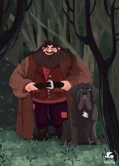 Hagrid and Fang in the Forbidden Forest Harry Potter Drawings, Harry Potter Anime, Harry Potter Fan Art, Harry Potter Universal, Harry Potter Fandom, Harry Potter World, Harry Potter Memes, Rúbeo Hagrid, Magia Harry Potter
