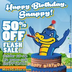 Snappy Birthday Savings! Get 50% off any new HostGator web hosting plan, including WordPress cloud hosting. October 20th thru October 22nd only. Use coupon code above when placing your order. Coupon Codes, Coupons, Cloud, Wordpress, October, Coding, How To Plan, Birthday, Birthdays