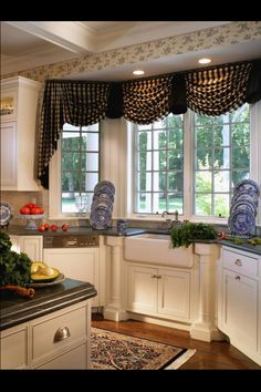 THESE WINDOW TREATMENTS ARE PERFECT!  Exactly what i want for the kitchen, with the cream, white and black color theme.
