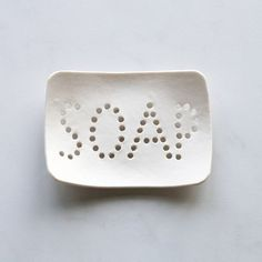 Holey soap dish. White porcelain, typo holes, bathroom accessory, geometric design, optional gift box