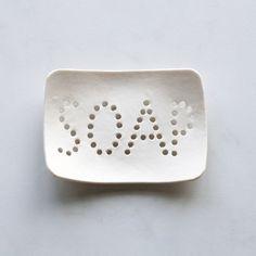 Holey soap dish. White porcelain, typo holes, bathroom accessory, geometric design, optional gift box