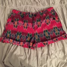 Cuffed printed short Colorful printed cotton short. Cuffed bottom.  Pockets with one button closure, never been worn! Anthropologie Other