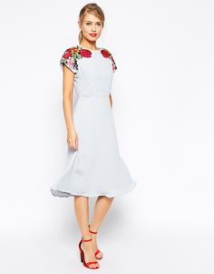 ASOS Midi Skater Dress with Embroidered Shoulder Detail